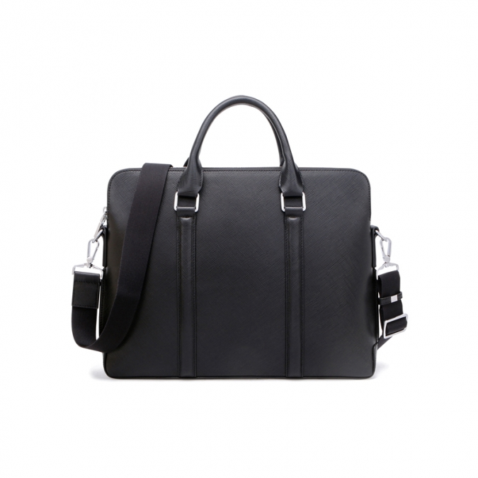 Men's Black Leather Satchel Briefcase